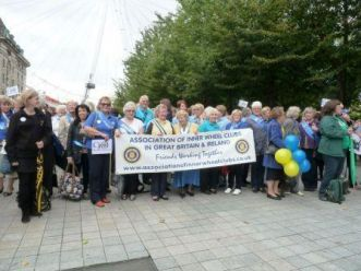 Some of the party of Inner Wheel members with Assn Pres, DC Judith and several of the charity representatives.